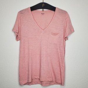Madewell Pink Slub Knit V Neck Tee